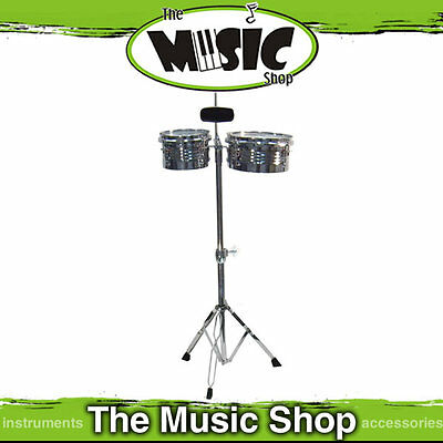 MP Mini Steel Timbale Set - Timbales Cowbell & Stand New  - Drum Kit Add On