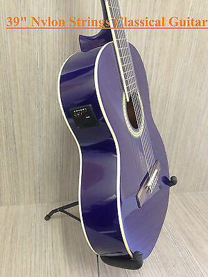 """39"""" inch Caraya Nylon String Classical Guitar. Purple. Built in Tuner - Package"""