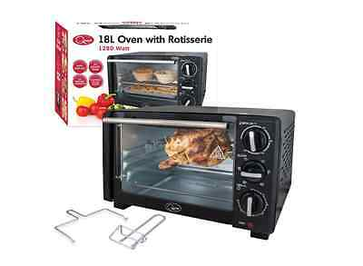 Mini Oven 18L Rotisserie Cooker Small Kitchen Timer Compact Bake Portable Grill