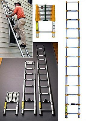 UK TRADER 3.2M 3.8M Extension Telescopic Ladder Steps Stabilizer Bar Work Home