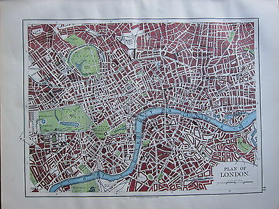 1900 Victorian Map ~ Plan Of London Parks Stations Thames Churches Tower Hill
