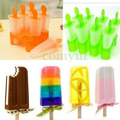 6 Cell Frozen Ice Cream Mold ice Popsicle Maker Lolly Mould Tray Pan Kitchen New