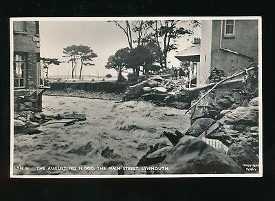 Devon LYNMOUTH Main St in Flood 1952 disaster RP PPC by Frith
