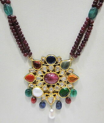 Vintage antique 20K Gold Navratan gemstone enamel work necklace pendant India