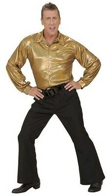 Gold Accessory For Fancy Dress Holographic Sequin Pants 70s Disco Trousers