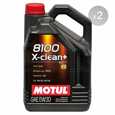 Motul 8100 X-Clean+ 5W-30 Performance Full Synthetic Engine Oil 2 x 5 Litres 10L