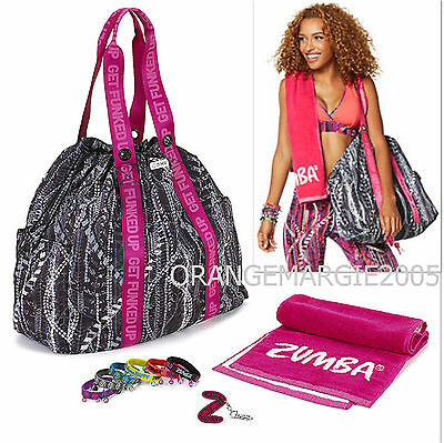 Zumba Rep My Style Gift Set Jumbo Tote Duffle Bag,Braclets,Towell,Key Ring-RARE!