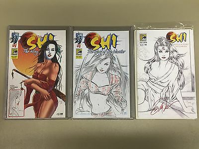SHI, Way of the Warrior, 3 Diff RARE SDCC 2013 Variants, Sketch by Billy Tucci