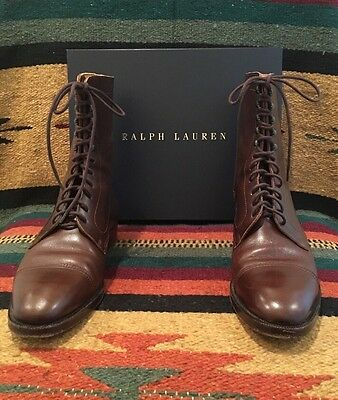 984367e4aaa6a RALPH LAUREN Brown Leather Victorian Doughboy Boot Lace-Up Ankle 9 AA Box  Italy!