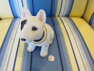 Vintage Bull Terrier Bobble Head Flocked With Gold Chain Around Neck