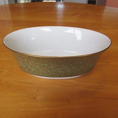 "Beautiful Sango Versailles 3632 Oval Vegetable Bowl 9"" Long Green Gold Trim"