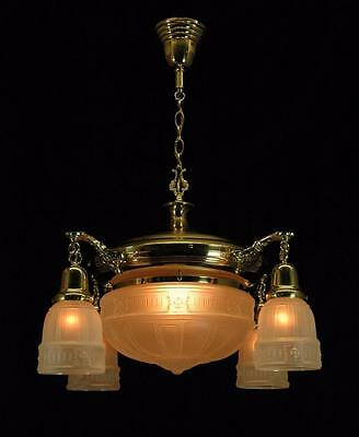Early 1900's Antique Restored Brass 4 Arm Pan Fixture With Center Glass Dome