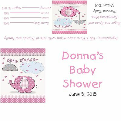 Personalized Tweet Pink Bird Owl Girl Baby Shower Candy Bar Wrappers