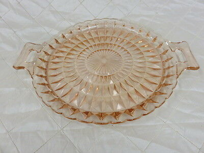 Sandwich Plate with Handles Jeanette Windsor Pink Glassware Depression Era