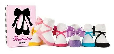 NEW Trumpette BALLERINA w/ BOW Baby Girl Socks 6 pairs. 12-24 mos Non-skid gift