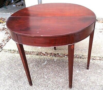 Heppelwhite GeorgeIII Federal mahogany tapered swing leg card demilune table mop
