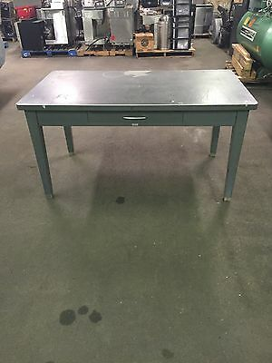 Vintage General Fireproofing Tanker Industrial Desk Table Metal Steel Retro