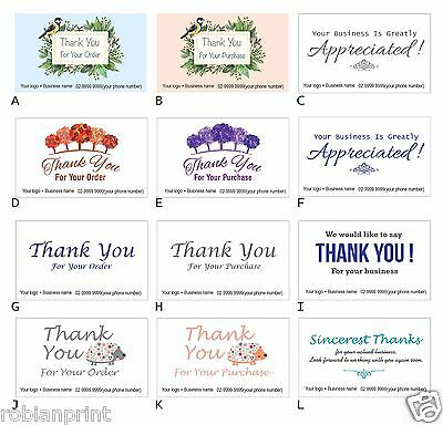 100 Custom Personalised Business Thank you cards for customer client orders