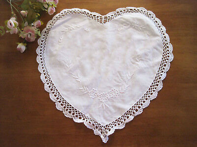 Elegant Flower Embroidery Hand Crochet Lace Heart Shape Cotton White Doily DIY