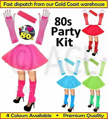 Womens Ladies Ballet Costume Party Set 80s Dance Gloves Tutu Skirt Leg Warmers