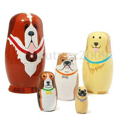 5pcs Set Hand Painted Dogs Puppy Wooden Russian Nesting Dolls Matryoshka Gift
