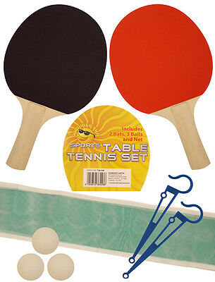 Table Tennis Game Set for 2 Players Ping Pong Bats 3 Balls Net Pole Complete Set