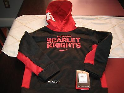 Boys/Girls Nike Therma Fit Rutgers University Scarlet Knights Hoodie Size 7 Nwt