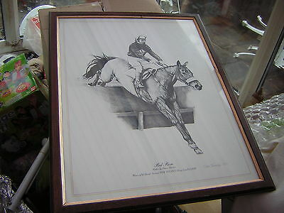 Vintage Red Rum Print Signed By Chris Jennings 1977 Must L@@k