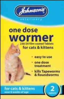 Johnsons - One dose easy wormer for CATS and KITTENS - Over 6 weeks - 2 Tablets