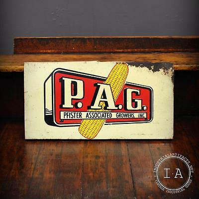 Vintage Double Sided Genuine Pfister Associated Growers PAG Advertising Sign