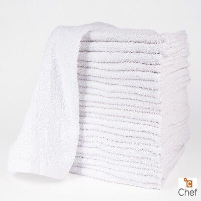 12 NEW COTTON WHITE TERRY CLOTH RESTAURANT PREMIUM KITCHEN CLEANING TOWELS 32oz