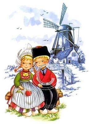 Vintage Image Dutch Couple Boy Girl Delft Blue Windmill Waterslide Decals KID542