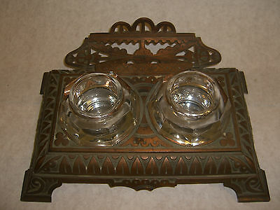 Antique metal double Inkwells & Inkstand with quill holder c.1900