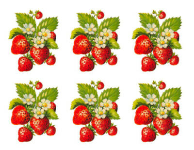 Vintage Image Retro Bunches of Strawberries Fruit Waterslide Decals FRU725