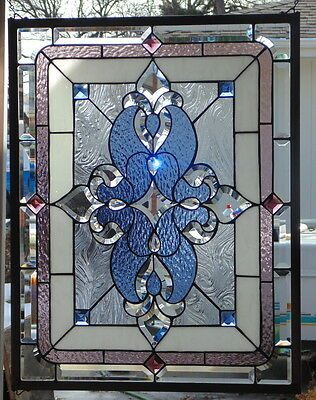 """Stained Glass Window Traditional Hanging 30 X 23 1/4"""""""