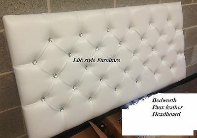 Crystal Diamante Bedworth Faux Leather Headboard in 2ft6,3ft,4ft,4ft6,5ft,6ft