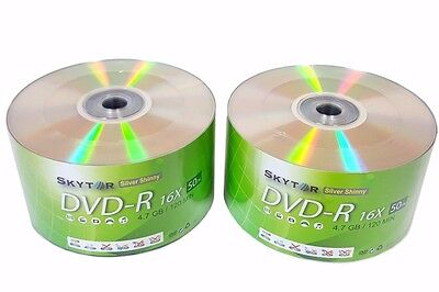 100 Blank SKYTOR DVD-R DVDR 16X Silver Shiny Top 4.7GB Recordable Media Disc