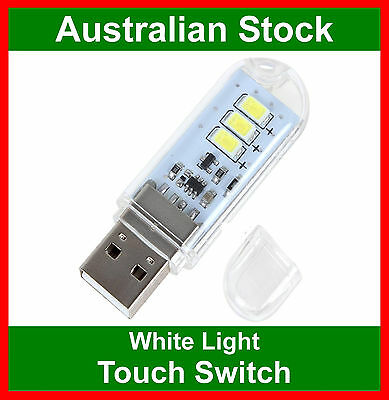 USB 3 LED Portable Light Computer Camping Reading Touch Switch