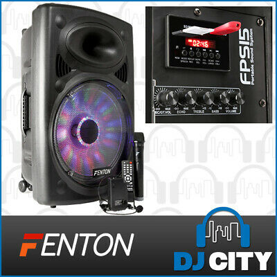 Fenton FPS15 15-Inch Portable PA System 350 Watt with Wireless Mic & Headset,...