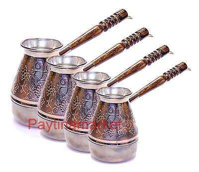 Turkish Coffee Pot Wooden Handle Ibrik Solid Hammered Copper Coffee Maker Cezve