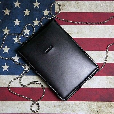 Black Leather Badge ID Card Wallet Holder Case With Neck Chain-MH188