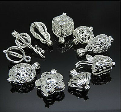 10pcs Mixed Style Silver Locket Hollow Locket Cage Beads Charm Necklace Pendant