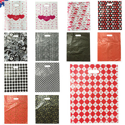 40pcs 40x50cm Plastic Bags Gift Wrap Die Cut Bag Carry Shopping Handle WSHOP