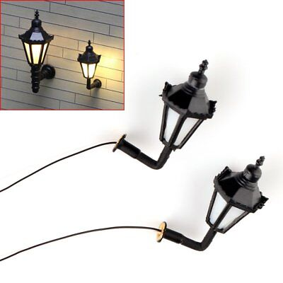 10 pcs HO Scale 1:100 Model Lamppost 3V Bulbs Wall Light Lamps
