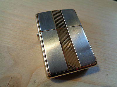 Zippo Lighter Gold Silver Titan One Vintage 1995 New 26381