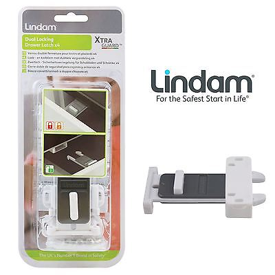 New Lindam Xtra Guard Babyproofing Child Safety Dual Locking Drawer Latch White
