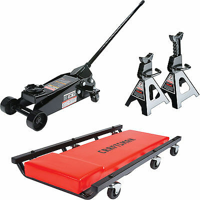 NEW Craftsman Steel 2.5 Ton Floor Jack Stands Mechanic Car w Creeper Set Lifting
