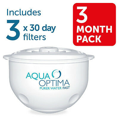 3 x Aqua Optima 30 Day Water Filter Replacement Filters Rfills 3 Months Supply