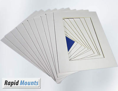 """10 Pack Mounts for Pictures/Photo frames- White Core board. Sizes 6x4"""" - 16x12"""""""