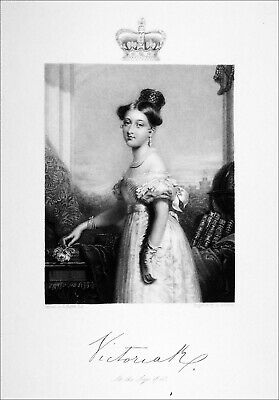 QUEEN VICTORIA at the age of 18 (with  his signature)- Engraving of 19th century